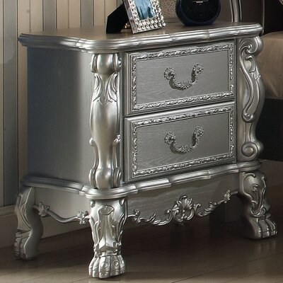 Welliver 2 Drawer Nightstand Color: Silver