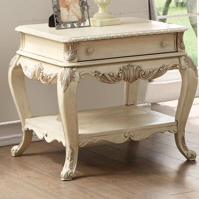 Welling End Table with Storage Color: Antique White