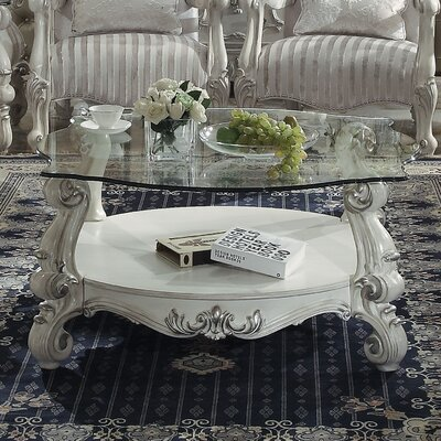 Welton Glass Top Coffee Table Base Color: Bone White
