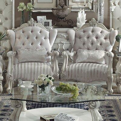 Welton Wingback Chair Upholstery: Ivory Velvet/Bone White