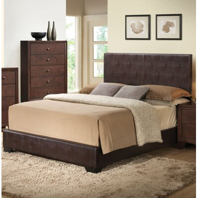 Oge Upholstered Panel Bed Color: Brown, Size: King