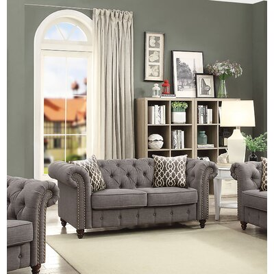 Irenee Loveseat with Pillow Upholstery: Gray