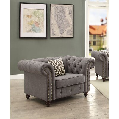 Irenee Armchair with Pillow Upholstery: Gray