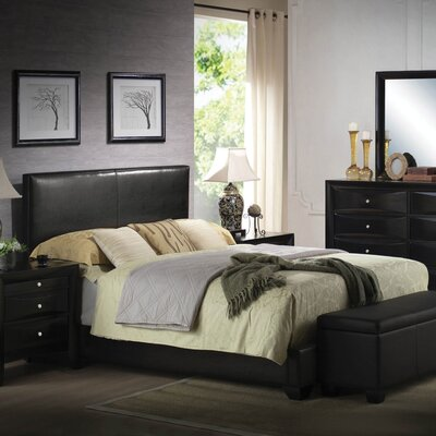 Oge Upholstered Panel Bed Color: Black, Size: Queen