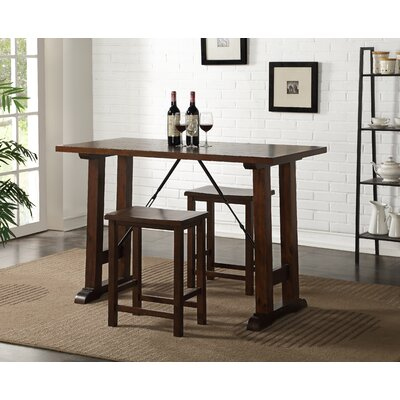 Claribel Counter Height 3 Piece Pub Table Set Color: Walnut