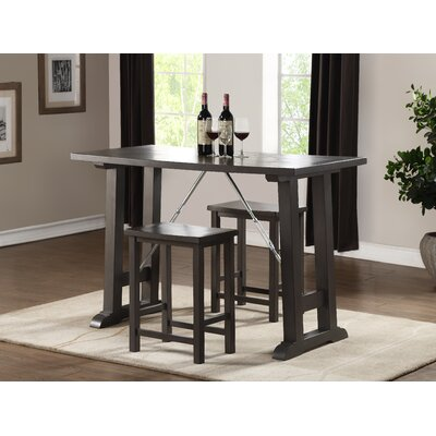 Claribel Counter Height 3 Piece Pub Table Set Finish: Gray Oak