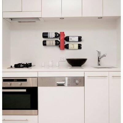4 Bottle Wall Mounted Wine Rack Finish: Red