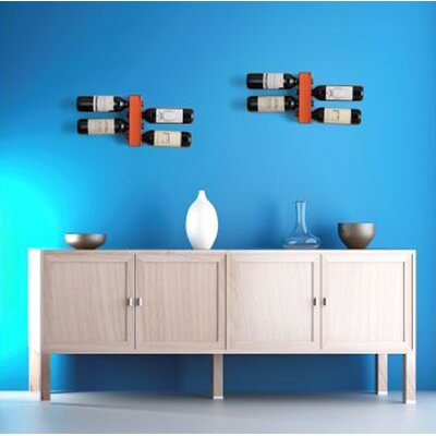 4 Bottle Wall Mounted Wine Rack Finish: Orange