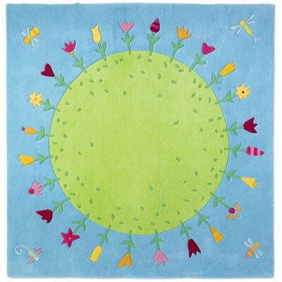 Planet of Flowers Blue Area Rug