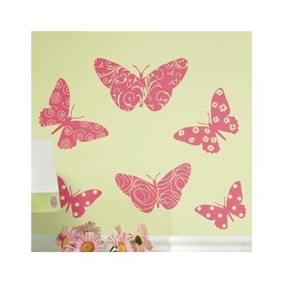 Room Mates Deco 10 Piece Flocked Pink Butterfly Wall Decal RMK1325SLG