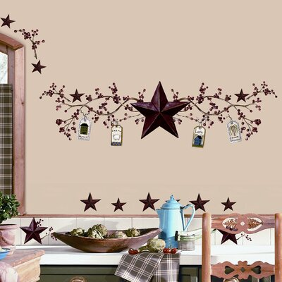 Room Mates Deco 40 Piece Country Stars and Berries Wall Decal RMK1276SCS