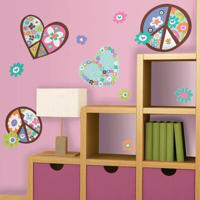 Room Mates Deco Heart and Peace Sign Wall Decal RMK1621GM