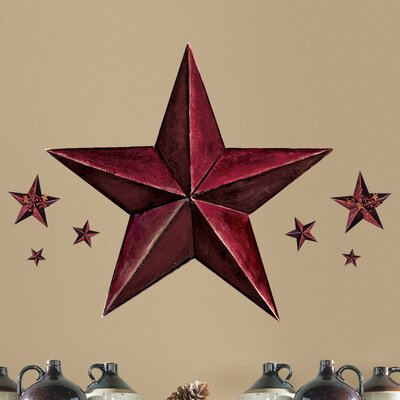 Room Mates Peel and Stick Giant 18 Piece Barn Star Wall Decal RMK2197GM