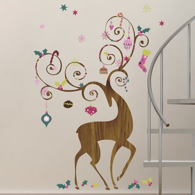 Seasonal 46 Piece Ornamental Reindeer Wall Decal