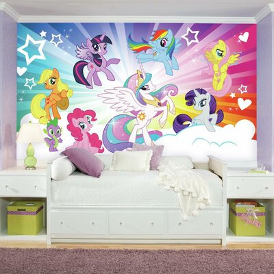 Roommates Jl1335m Ultra Strippable My Little Pony Cloud Xl Chair Rail Prepasted Mural JL1335M