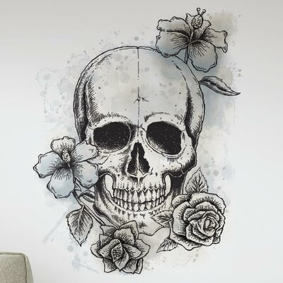 Internet Only Neutral Floral Skull Wall Decal RMK3060TB