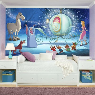 Disney Princess Cinderella Carriage Chair Rail Prepasted Wall Mural JL1374M