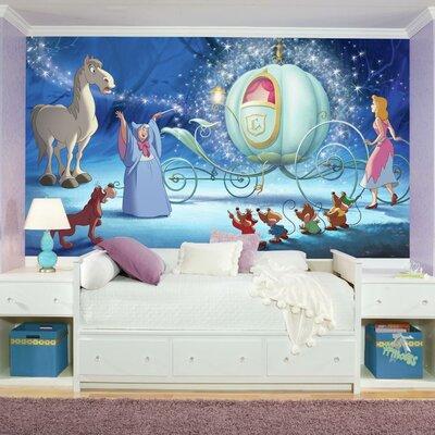 Room Mates Disney Princess Cinderella Carriage Chair Rail Prepasted Wall Mural JL1374M