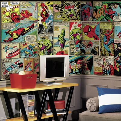 Room Mates Marvel Comic Panel Chair Rail Prepasted Wall Mural JL1398M