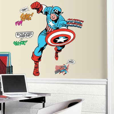 Marvel Enterprises Classic Captain America Comic Peel and Stick Giant Wall Decal RMK3254GM