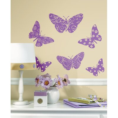 Bedroom Wall Decor on Room Mates Flocked Pink Butterfly Peel And Stick Wall Decal