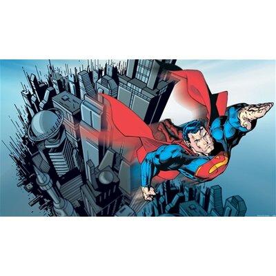 Room Mates Surestrip Superman Chair Rail Prepasted Wall Mural JL1064M