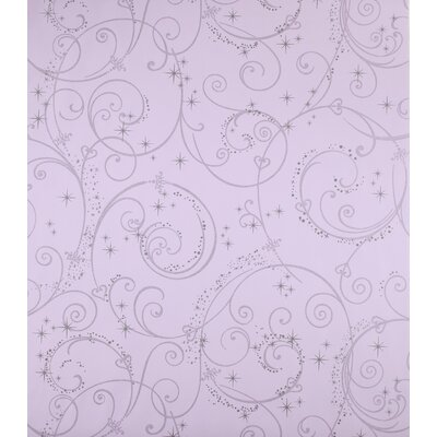 Perfect Princess Scroll Wallpaper in Purple with Glitter