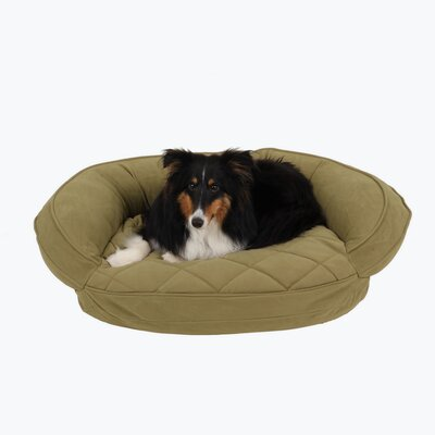Microfiber Quilted Bolster Bed with Moisture Barrier Protection Size: 30 L x 24 W, Color: Sage