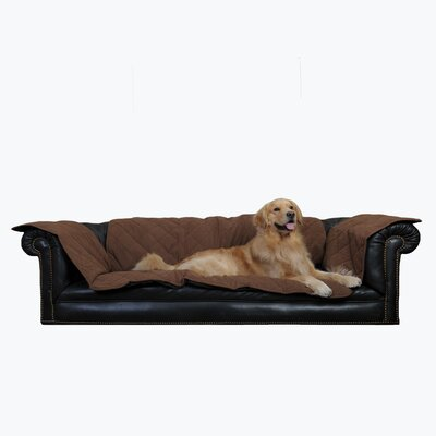 Box Cushion Sofa Slipcover Size: 27 H x 60 W x 34 D, Color: Chocolate
