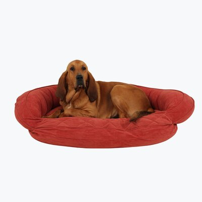 Microfiber Quilted Bolster Bed with Moisture Barrier Protection Color: Red, Size: 42 L x 30 W