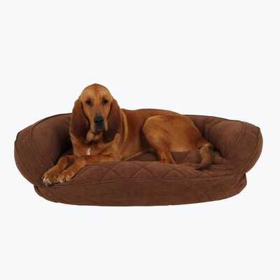 Microfiber Quilted Bolster Bed with Moisture Barrier Protection Color: Chocolate, Size: 42 L x 30 W
