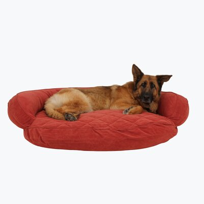 Microfiber Quilted Bolster Bed with Moisture Barrier Protection Size: 48 L x 36 W, Color: Red