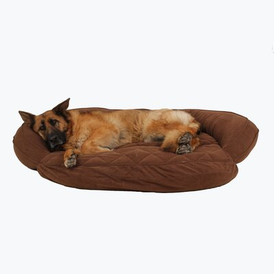 Microfiber Quilted Bolster Bed with Moisture Barrier Protection Color: Chocolate, Size: 48 L x 36 W