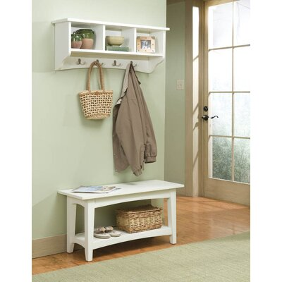 Alaterre Shaker Cottage Entryway Storage Bench and Coat Hooks ...