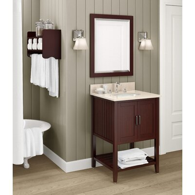 Bennett 25 Single Bathroom Vanity with Mirror and Shelf Base Finish: White, Top Finish: Galala Beige