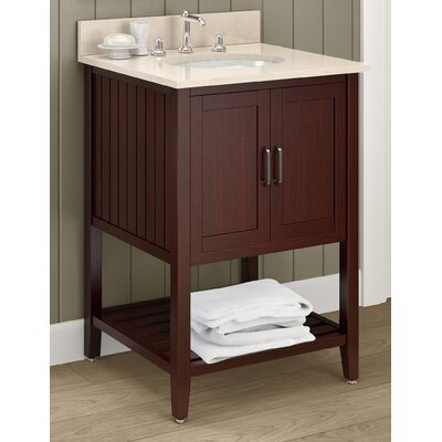 Bennett 25 Single Bathroom Vanity with Mirror and Shelf Base Finish: Espresso, Top Finish: Galala Beige