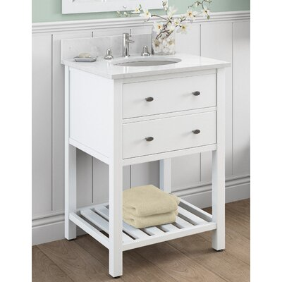 Harrison 25 Bath Vanity Base Finish: White, Top Finish: White Carrera