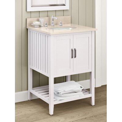 Bennett 25 Single Bathroom Vanity with Mirror and Shelf Base Finish: White, Top Finish: White Carrera