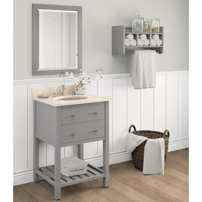 Harrison 25 Single Bathroom Vanity with Mirror and Shelf Top Finish: White Carrera, Base Finish: White