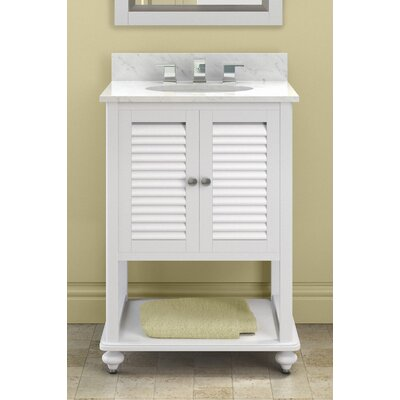 Tahiti 25 Bath Vanity Base Finish: White, Top Finish: White Carrera