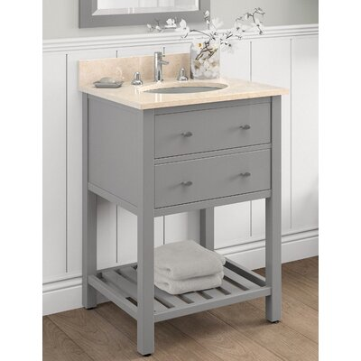 Harrison 25 Bath Vanity Base Finish: Gray, Top Finish: Galala Beige