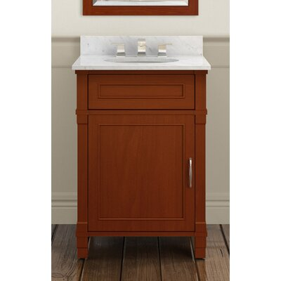 Williamsburg 25 Bath Vanity Base Finish: Chestnut, Top Finish: White Carrera