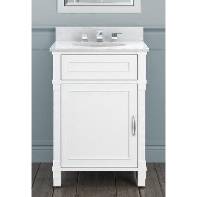 Williamsburg 25 Bath Vanity Base Finish: White, Top Finish: White Carrera