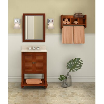 Tahiti 25 Single Bathroom Vanity with Mirror and Shelf Top Finish: White Carrera, Base Finish: White