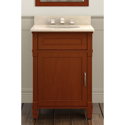 Williamsburg 25 Bath Vanity Base Finish: Chestnut, Top Finish: Galala Beige