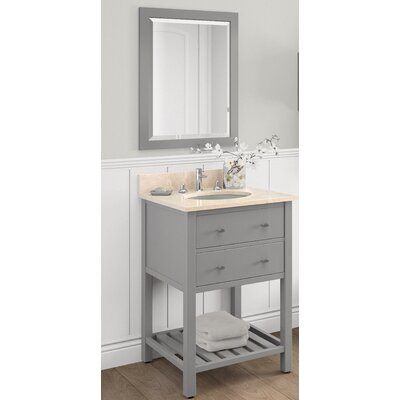 Harrison 25 Single Bathroom Vanity with Mirror and Shelf Base Finish: Gray, Top Finish: White Carrera