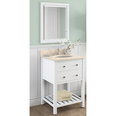 Harrison 25 Single Bathroom Vanity with Mirror and Shelf Base Finish: White, Top Finish: Galala Beige