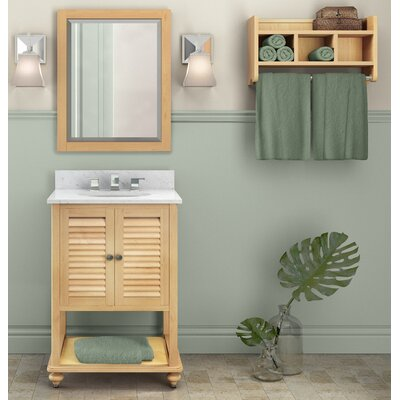 Tahiti 25 Single Bathroom Vanity with Mirror and Shelf Base Finish: Natural, Top Finish: Galala Beige