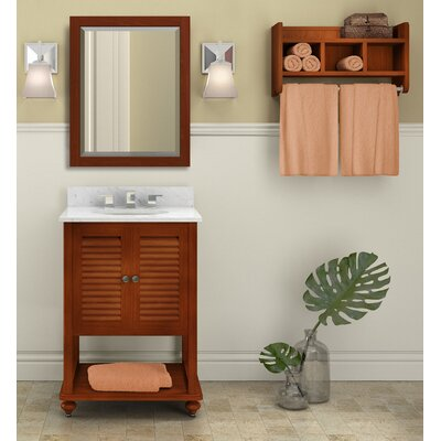 Tahiti 25 Single Bathroom Vanity with Mirror and Shelf Base Finish: Chestnut, Top Finish: White Carrera