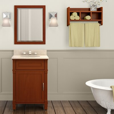 Williamsburg 25 Single Bathroom Vanity with Mirror and Shelf Top Finish: Galala Beige, Base Finish: White